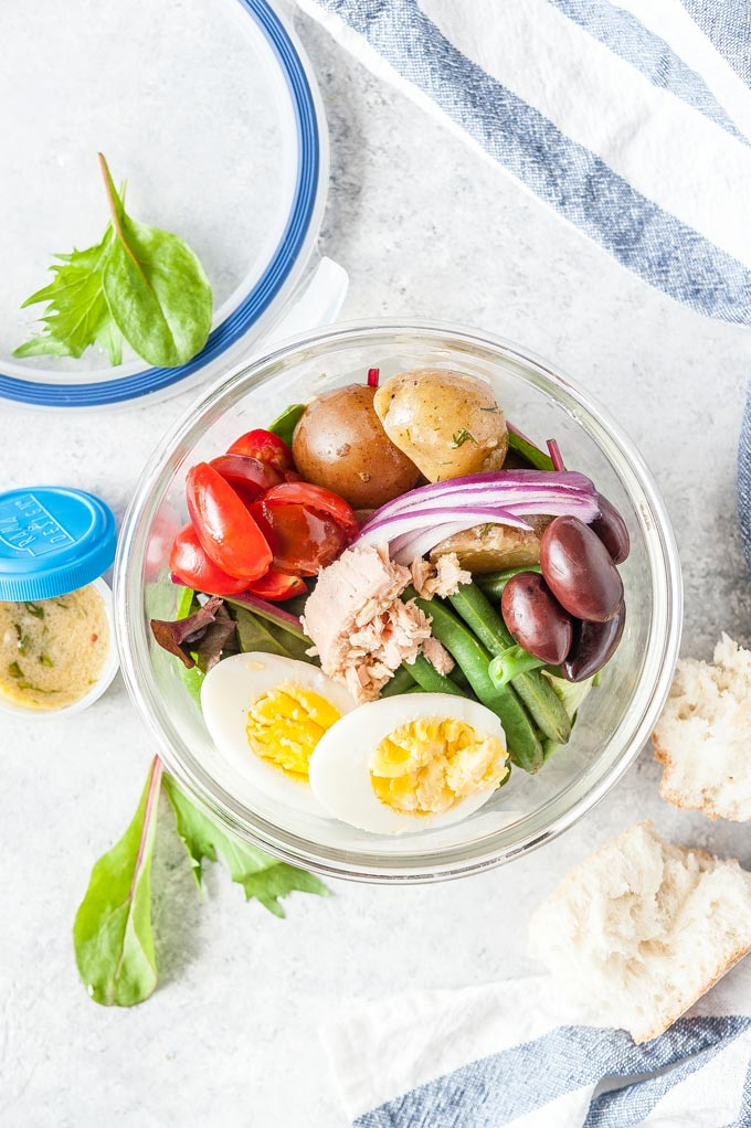 Nicoise Salad in a meal prep bowl.