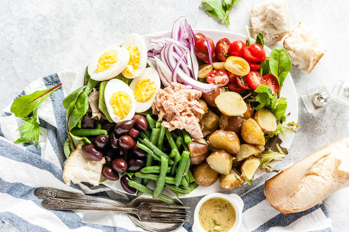 Platter with Nicoise Salad.