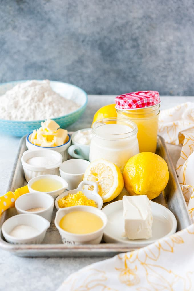 All the ingredients to make Instant Pot No Knead Lemon Cheesecake Rolls.