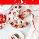5-ingredient Strawberry Cake is soft and dense and smells like a strawberry patch. Filled with puréed and whole strawberries, it has no oil, no butter, and no dairy. So easy and quick and delicious | imagelicious.com #strawberries #strawberrycake