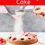 5-ingredient Strawberry Cake is soft and dense and smells like a strawberry patch. Filled with puréed and whole strawberries, it has no oil, no butter, and no dairy. So easy and quick and delicious   imagelicious.com #strawberries #strawberrycake