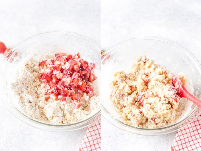 Collage of two photos for Strawberry Cookie dough.