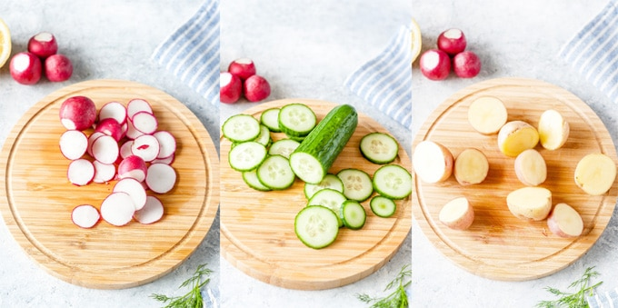 Collage of three photos of sliced ingredients for the potato salad.