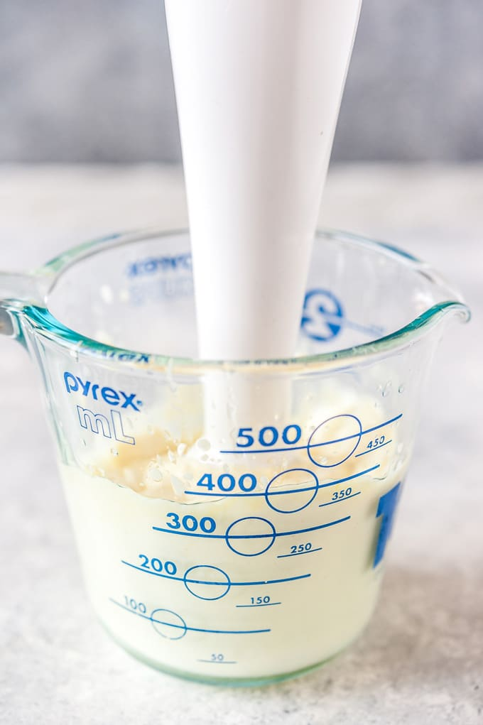 Jar with eggless mayo and immersion blender.