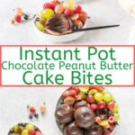 Flourless Instant Pot Chocolate Peanut Butter Cake Bites are an incredibly easy and delicious dessert. Perfect to make in the summer if you don't want to use an oven and great for a dinner party dessert. Rich, fudgy, delicious! Gluten-free | imagelicious.com #imagelicious #instantpot #chocolate #peanutbutter