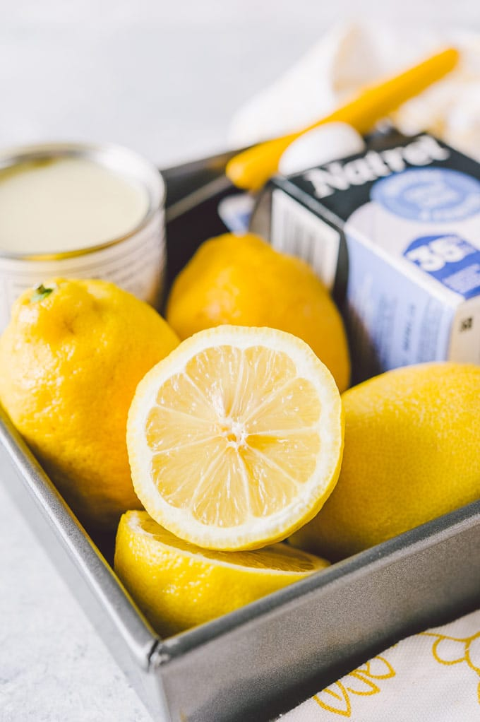 All the ingredients to make no churn lemon ice cream.