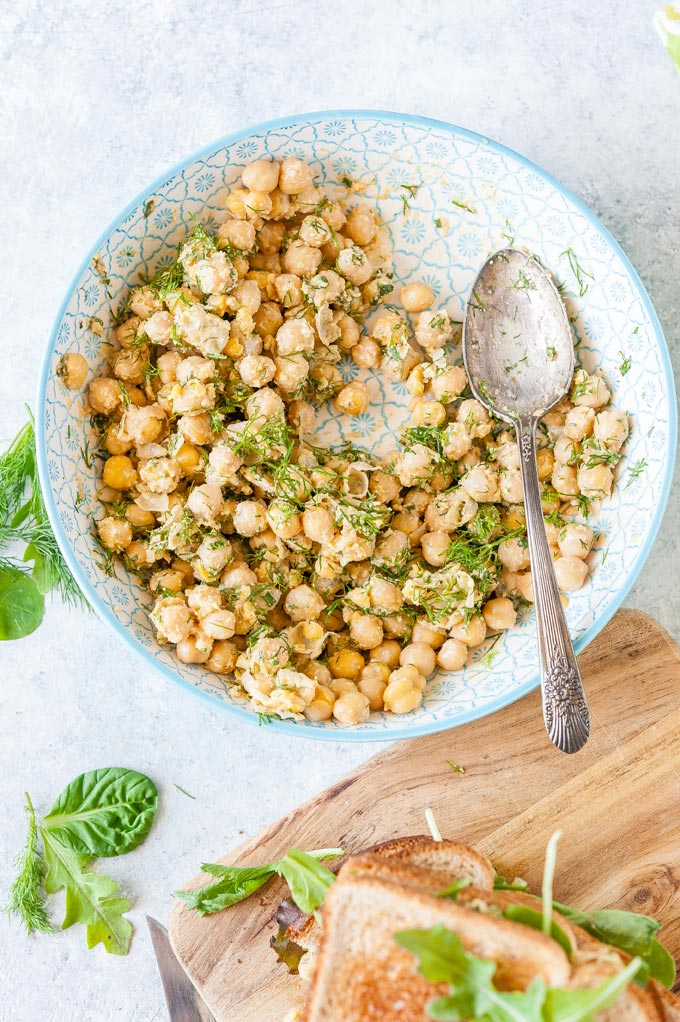 Half a bowl with chickpea salad.