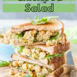 Vegetarian Chickpea Salad is creamy, tangy, and savoury. It's perfect on toast, over some mixed greens, or on its own. Great for summer lunches and meal prep. It's almost like eating potato salad but without any guilt | imagelicious.com #vegetarian #chickpeas