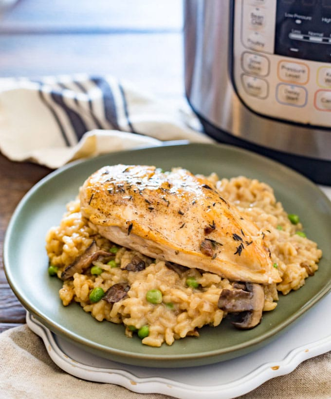 Bowl with Instant Pot Risotto and Chicken.
