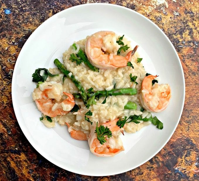 Plate with Instant Pot Shrimp Risotto.