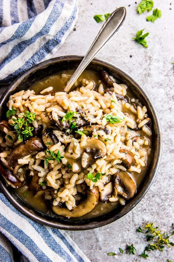 Bowl with Mushroom Risotto.