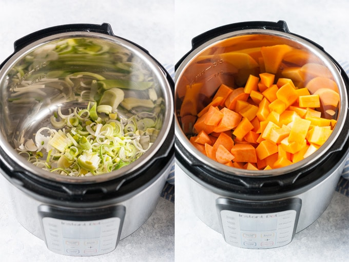 Process photos of ingredients inside Instant Pot.