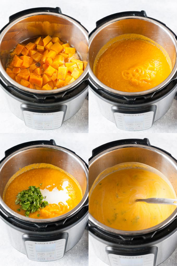 Process photos of soup in Instant Pot.