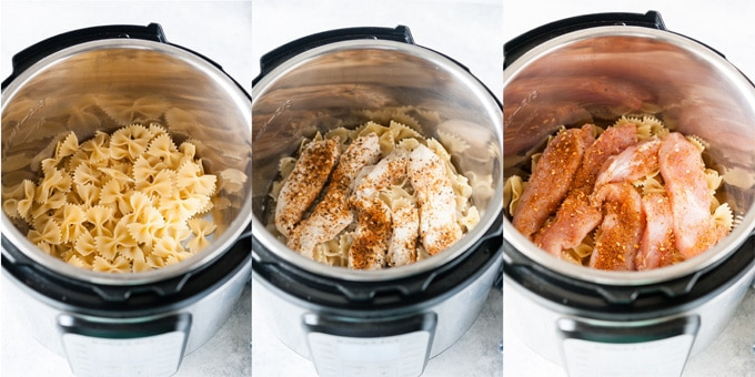 Process photos of pasta and chicken in Instant Pot.