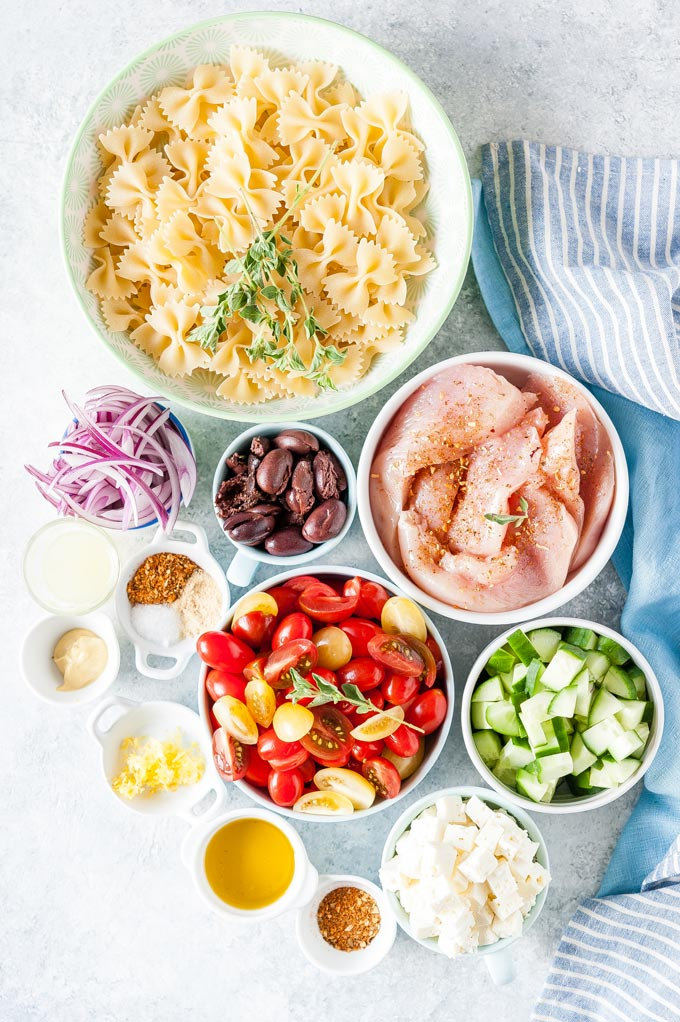 All the ingredients to make Instant Pot Greek Chicken Pasta Salad.