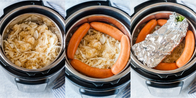 Collage of process photos of how sauerkraut and sausages are layered in Instant Pot.