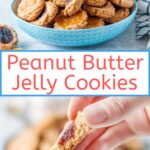 These Peanut Butter and Jelly Cookies are a delicious treat for a weekday snack or weekend dessert. Soft cookie with sticky sweet jam is a perfect combination of flavours and textures | imagelicious.com #peanutbutterjelly #cookies #thumbprintcookies