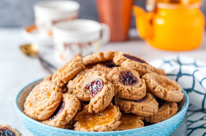 Bowl with Peanut Butter and Jelly Cookies.