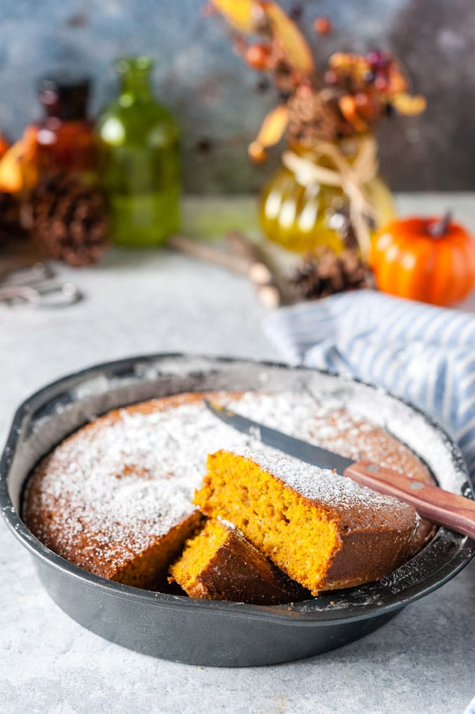 Close up of pumpkin cake in a pan.