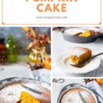 This Pumpkin Cake is super quick and easy. It only has 5 ingredients and no butter or oil. The batter comes together in under 10 minutes with only one bowl. Perfect cake for fall entertaining or just a delicious weeknight treat | imagelicious.com #pumpkincake #5ingredients #pumpkinrecipe