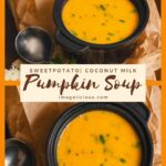 Pumpkin, Sweet Potato, Leek, and Coconut Milk Soup is light and delicious. Perfect for cold autumn evening or chilly spring afternoon. It's easy to make and healthy. Vegan and gluten-free | Imagelicious.com #pumpkin #pumpkinsoup