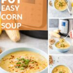 Easy Corn Soup can be made with either fresh or frozen corn. You can make it on the stove or Instant Pot for convenience. Only 4-ingredients and spices. It's sweet, creamy, and delicious. Naturally gluten-free and can be easily modified to be vegan | imagelicious.com #cornsoup #cornchowder #instantpotrecipe