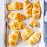 Tray of baked Cheesy Pumpkin Crescent Rolls.