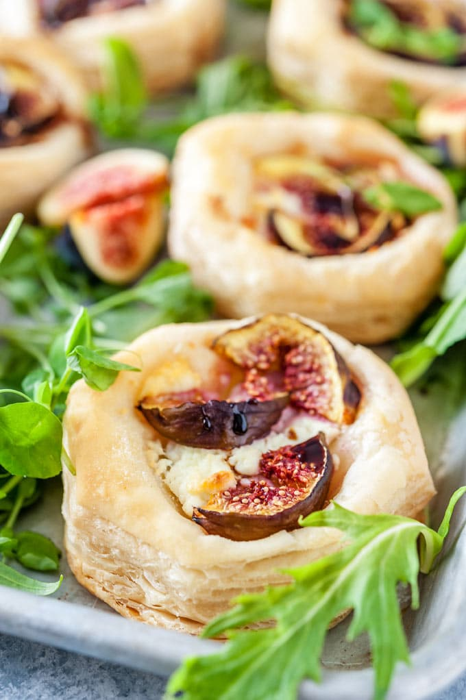 Closeup of Goat Cheese and Fig Tartlets.