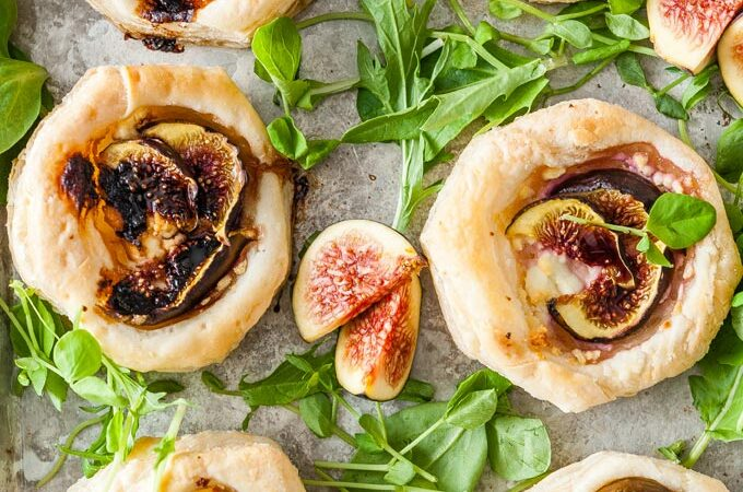 Top down view of Goat Cheese and Fig Tartlets.
