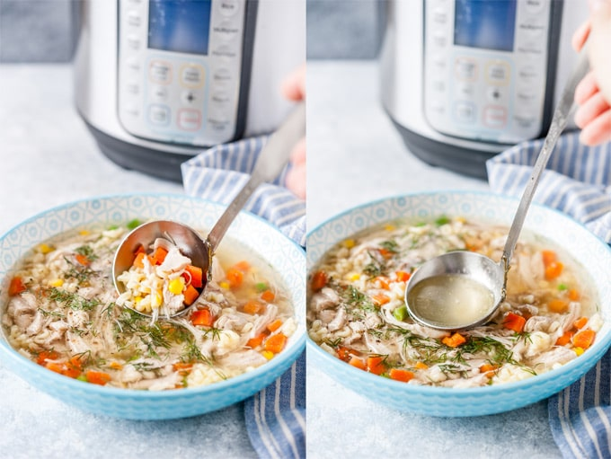 Collage of two photos of chicken soup being ladled into a bowl.