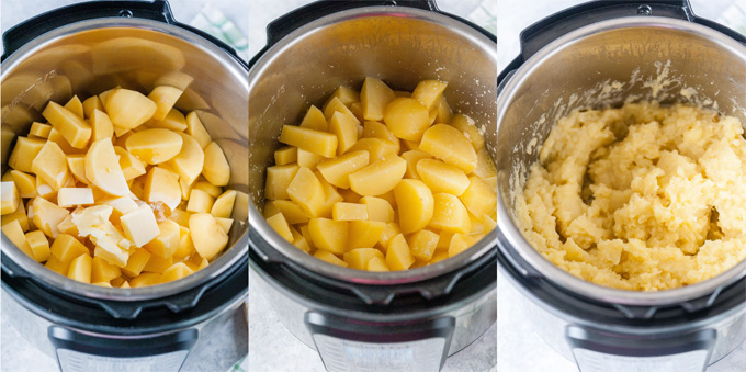Collage of process photos of potatoes in Instant Pot before and after cooking.