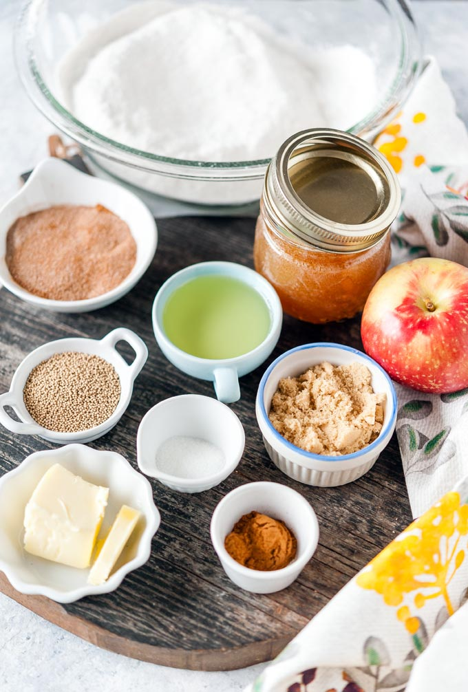 All the ingredients to make Apple Cinnamon Pretzel Bites.