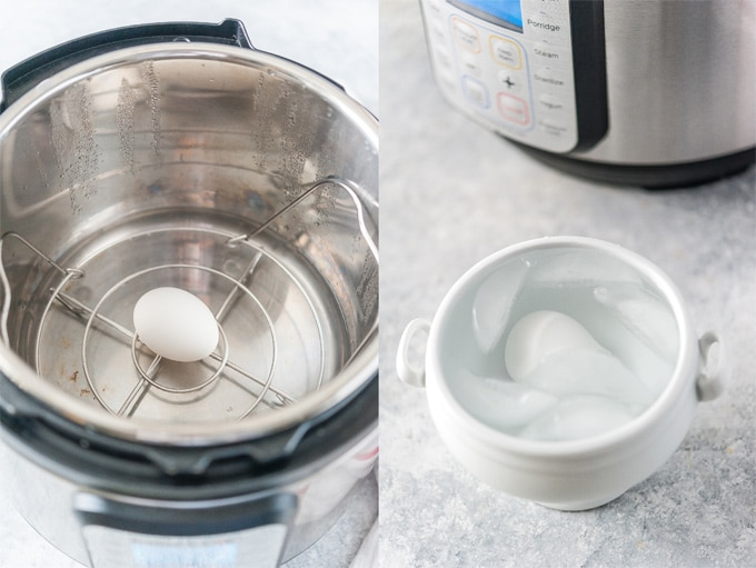 Collage of process photos showing how to make Instant Pot Soft Boiled Eggs,