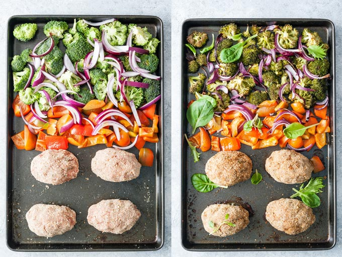 Collage of unbaked and baked sheet pan scotch eggs with vegetables