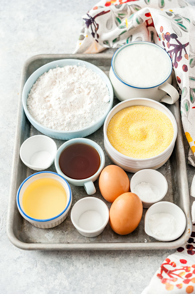 All the ingredients to make Cornbread Muffins.