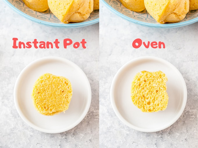 Collage of two photos with Instant Pot Cornbread Muffin and Oven-Baked Cornbread Muffin.