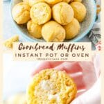 These Easy Cornbread Muffins are light, soft, savoury, and lightly sweetened. They can be made in the oven or Instant Pot with very similar results. Perfect weeknight treat. Great to serve alongside a special Holiday Dinner   imagelicious.com #cornbread #instantpotrecipes #thanksgiving