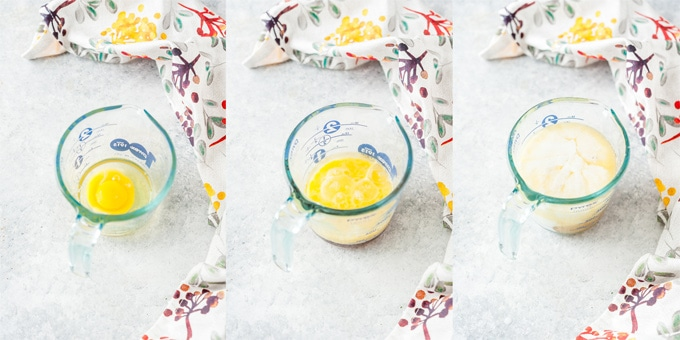 Collage of the process photos for mixing wet ingredients for muffins.