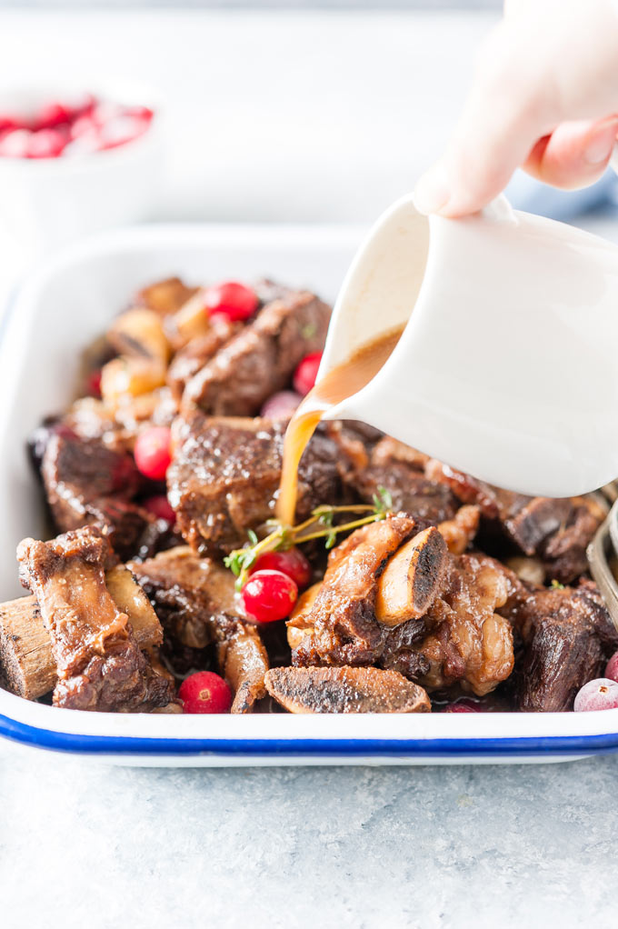 Cranberry Braised Beef Short Ribs on a platter.
