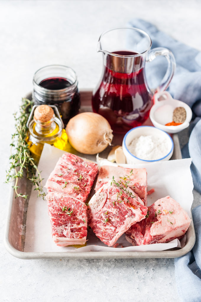 All the ingredients to make Cranberry Braised Beef Short Ribs in Instant Pot.