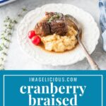 These Cranberry Braised Beef Short Ribs are rich savoury, succulent and delicious. They can be made in the oven or Instant Pot. Perfect for a special holiday meal | imagelicious.com #instantpotribs #braisedbeefshortribs #braisedribs #instantpotrecipes