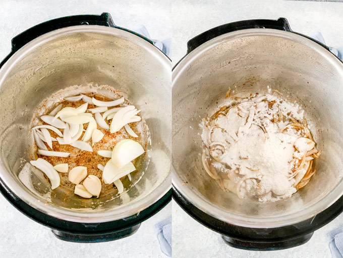 Collage of process photos showing how to make sauce in Instant Pot.