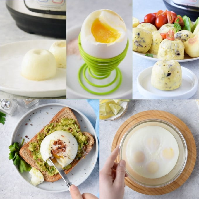 Collage of photos showing different ways of cooking eggs in Instant Pot.