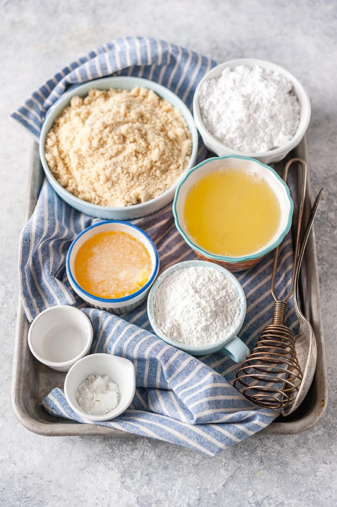 All the ingredients to make Gluten-Free Almond Cake.