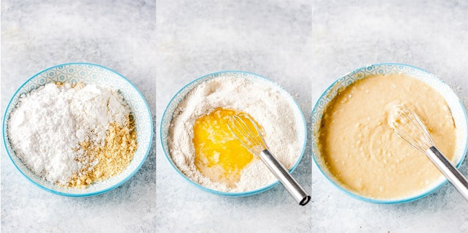 Collage of process photos showing how batter is made for the gluten-free almond cake.