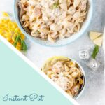 Instant Pot Creamy Salmon Pasta is really easy and quick to make. It is delicious and great alternative to chicken pasta dishes. It's great to make when you have no time to buy fresh ingredients as it uses frozen salmon and ingredients from a fridge and pantry. 30-minute meal | imagelicious.com #instantpotpasta #instantpotrecipe #salmonpasta