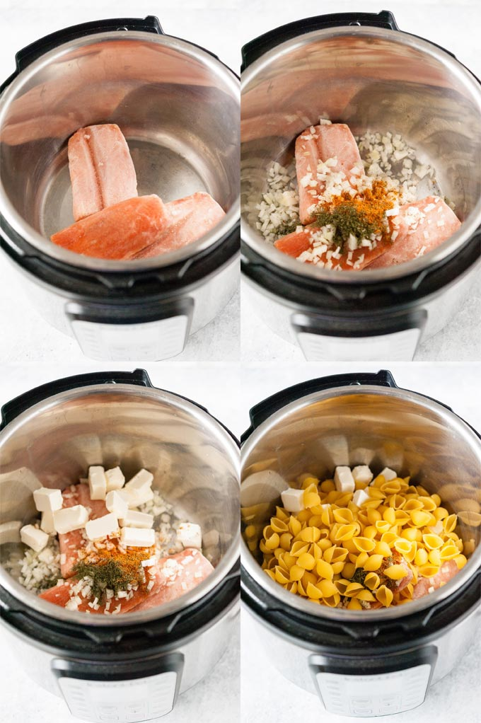 Collage of process photos of ingredients for Creamy Salmon Pasta being layered in Instant Pot.