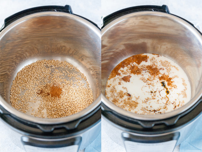 Collage of two process photos showing how to make Gingerbread Steel-Cut Oats in Instant Pot.