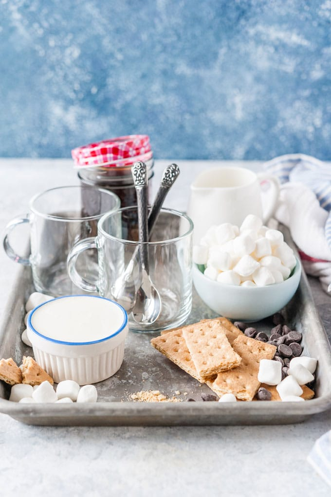 All the ingredients to make Instant Pot S'Mores Latte.