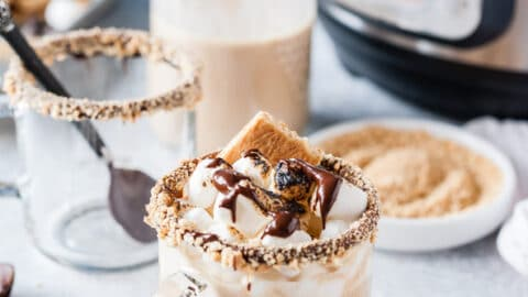 Mug of S'Mores Latte with Instant Pot in the background.